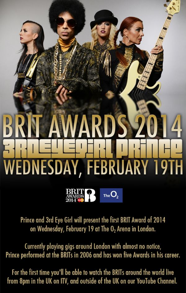 PRINCE 3RDEYEGIRL BRIT AWARDS IMAGE BY LV