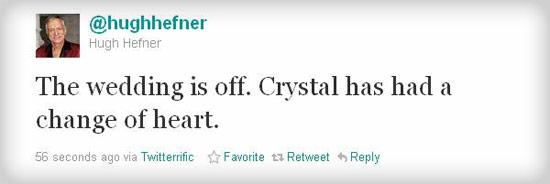Hugh Hefner Tweet. Via Twitter