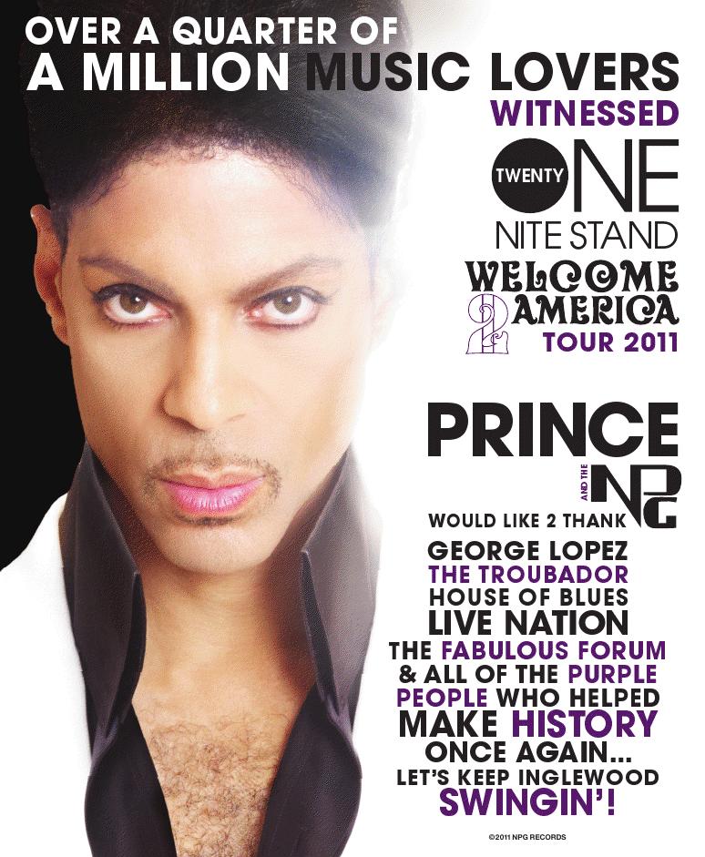Prince Welcome 2 America Thank You